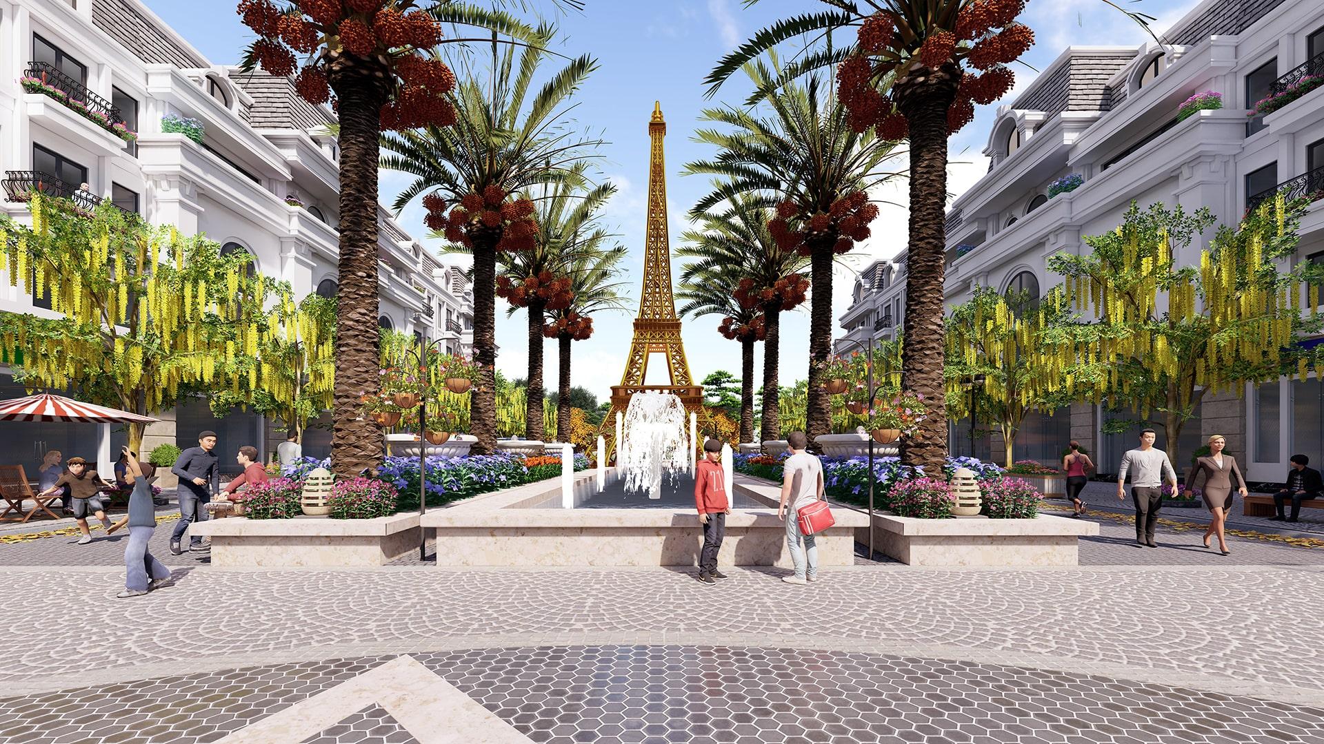 Tháp Paris ngay trung tâm dự án